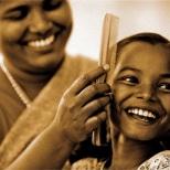 """Peinados matutinos"". Tamil Nadu."
